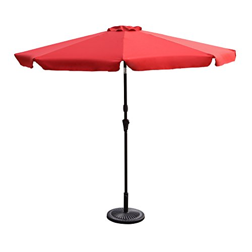 Edeco 9 Ft Outdoor Table Aluminum Patio Umbrella Market Unbrella with Tilt and Crank, 8 Ribs, Polyester, (Unbrella Base Not Included) (Red 2) For Sale