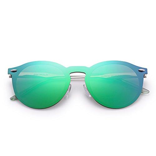 4503caa71d Jim Halo Gafas de Sol Polarizadas Sin Montura Una Pieza Reflexivo Redondas  Espejo Anteojos Hombre Mujer