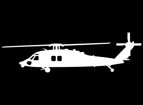 Sikorsky Blackhawk MH-60 Helicopter Vinyl Decal in White