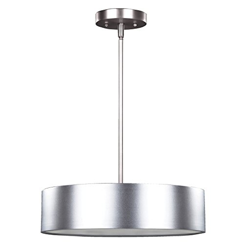 Pendant Light Brushed Nickel Round Drum With Frosted Glass Diffuser 2016