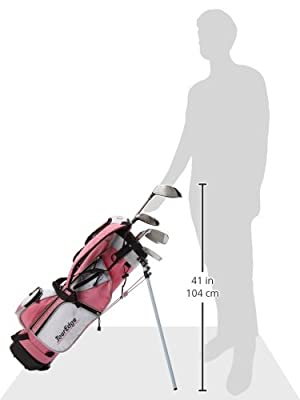 Tour Edge HT Max-J Kids Golf Club Set (Junior's, Ages 9-12, 5 Club Set, Right Handed, with Bag, Pink)