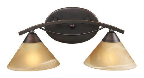Elk 7641/2 2-Light Vanity In Aged Bronze and Tea Swirl Glass (Elysburg 2 Light)