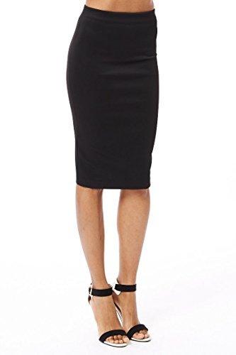 PrettyFashion Womens Midi Pencil Skirt Ladies Plain Jersey Bodycon Tube Skirt Plus Size 8 - 22 (X-Large, Black)