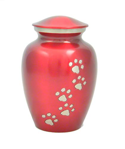 Best Friend Services Ottillie Paws Series Pet Cremation Urn (Large, Ruby Red, Vertical Pewter - Everlasting Keepsakes