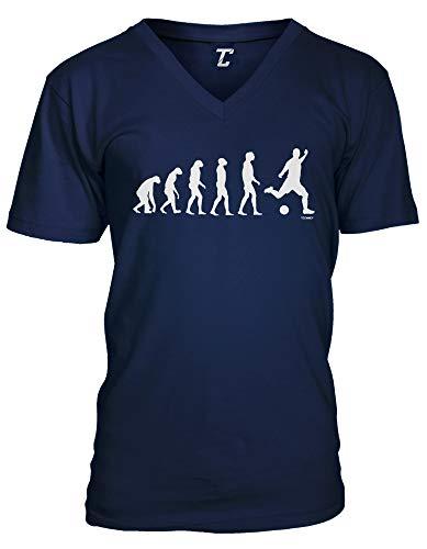 Evolution to Soccer - Futbol Sports Unisex V-Neck T-Shirt (Navy, Small)