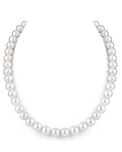THE PEARL SOURCE 14K Gold 9-10mm AAAA Quality White Freshwater Cultured Pearl Necklace for Women in 17