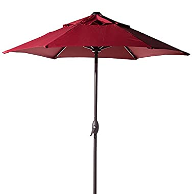 Abba Patio 7-1/2 ft. Round Outdoor Market Patio Umbrella with Push Button Tilt and Crank Lift, Red