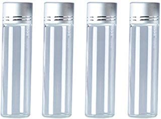 10Pcs Clear Glass Sealed Bottles Empty Cosmetic Sample Vials Glass Perfume Jars Cream Lotion Liquid Containers Test Tubes Travel Storage Bottles Wishes Bottle with Screw Silver Color Caps (20ml) ()