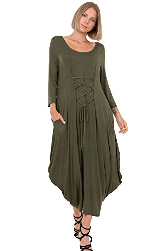 12 Ami Laced Front 3/4 Sleeve Bubble Hem Pocket Midi Dress Olive M - Bubble Hem Mini Dresses