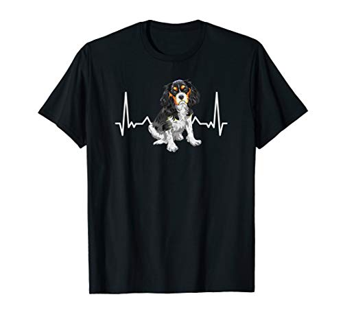 Spaniel Green T-shirts - Cavalier King Charles Spaniel Dog Doggy with Heartbeat T-Shirt
