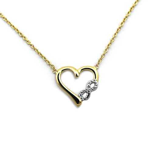 18k Yellow Gold over Sterling Silver .01ct Diamond Heart with Infinity Symbol 18