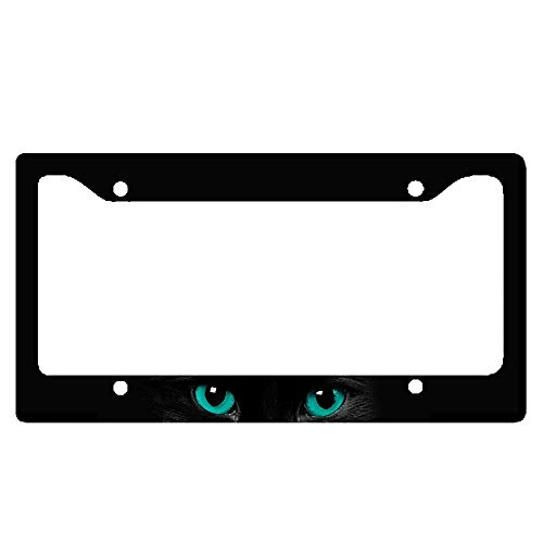 Black Cat Blue Eyes License Plate Frame for your Car 2d Flat Frame - Plate Blue 2d