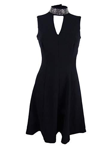 Dress Flare Klein Cocktail Neck Mock Black Calvin amp; Fit Womens SAaA7