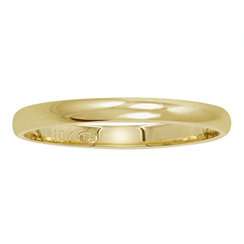 Women's 10K Yellow Gold 2mm Classic Fit Plain Wedding Band (Available Ring Sizes 4 8 1/2)