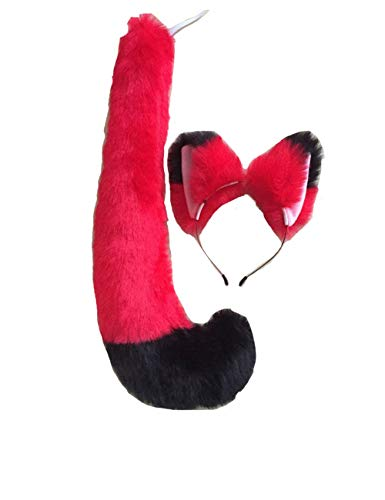 Anime Party Lolita Cosplay Costume Black Fox Cat Tail 19.7'' Fox Tail Cos Children Gift (Red Black Tail Hairband Set)]()
