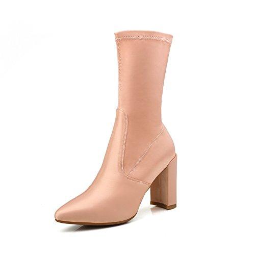 BalaMasa Womens Chunky Heels Pointed-Toe No-Closure Satin Boots Pink