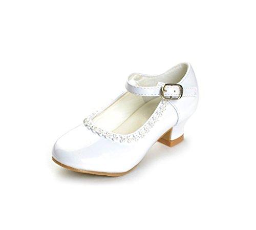DressForLess Rhinestone Detailed Patent Flower Girl Shoes, White, 9 -