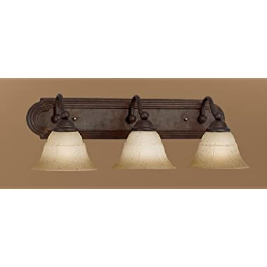 Classic Lighting 69632 RSB TCG Providence, Glass and Steel, Vanity Lighting, Rustic Bronze