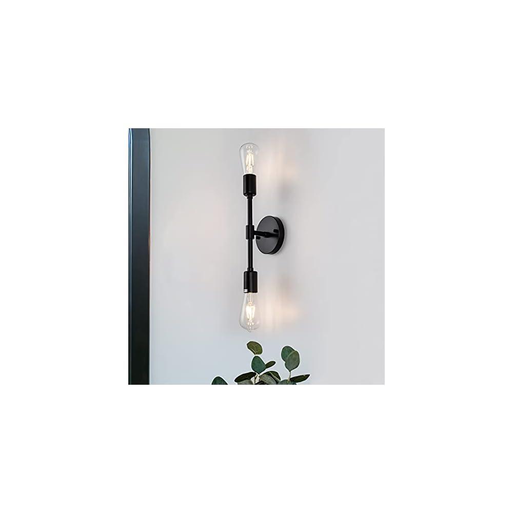 Black Bathroom Vanity Light,Modern 2 Light Farmhouse Modern Wall Sconce, Dual Light Industrial Classic Wall Sconce…