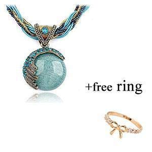 (DOINSHOP 2019 New Hot Fashion Bohemian Jewelry Statement Necklaces Women Rhinestone Gem Pendant Collar)