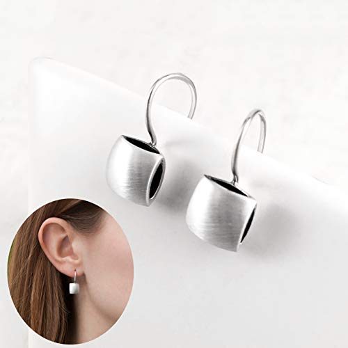 - Cushion Shape Hook Drop Earrings, Sterling Silver 925 Satin and Polished finished sides, Dark Oxidized Interior, Handmade in Peru by Claudia Lira. Great for Sets. -READY TO ORDER-