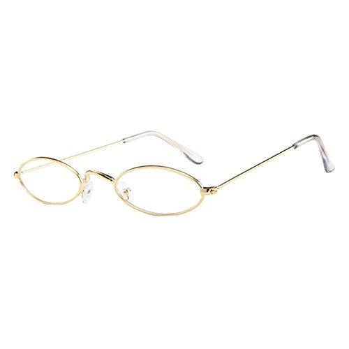 Fashion Mens Womens Retro Small Oval Sunglasses Metal Frame Shades Eyewear (B)