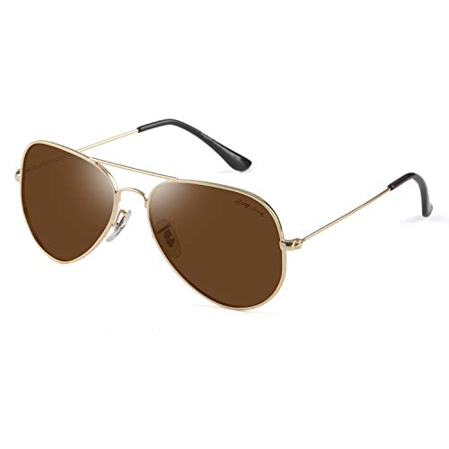 GREY JACK Polarized Classic Aviator Sunglasses Lightweight Style for Men Women Gold Frame Brown Lens Large