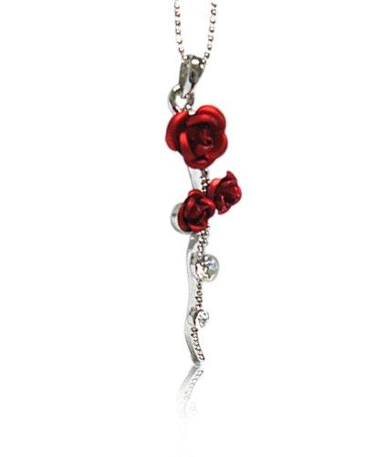 Pammyj silvertone crystal long stem red rose pendant necklace pammyj silvertone crystal long stem red rose pendant necklace mozeypictures Choice Image