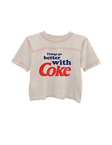 Ladies Coca Cola Fashion Shirt - Coke Classic Logo Contrast Stitch Short Sleeve Tee (Ivory/Red, -