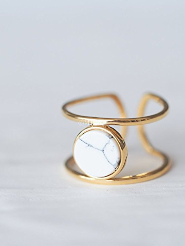 coin-white-howlite-geometric-stone-ring-double-line-simple-ring