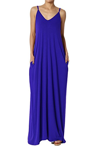 TheMogan Women's V-Neck Draped Jersey Cami Long Maxi Dress with Pocket Denim Blue 1XL ()