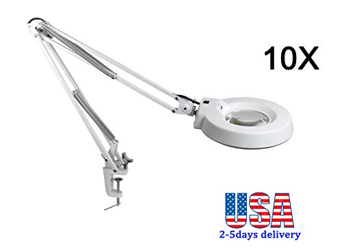 Zinnor 10X Desk Table Clamp Mount Magnifier, Desk Table Magnifier with LED Light Magnifying Glass Lens Diopter, Utility Light for Desk, Table, Task, Craft, Workbench (Cyan Glass) - USA Shipping