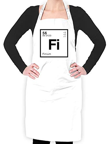 Dressdown FIN - Periodic Element - Unisex Fit Adult Apron - White - One Size (Wht Fin)