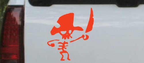 Rad Dezigns Red 8in X 7.1in - Cute Funny Pirate Skeleton Skulls Car Window Wall Laptop Decal Sticker