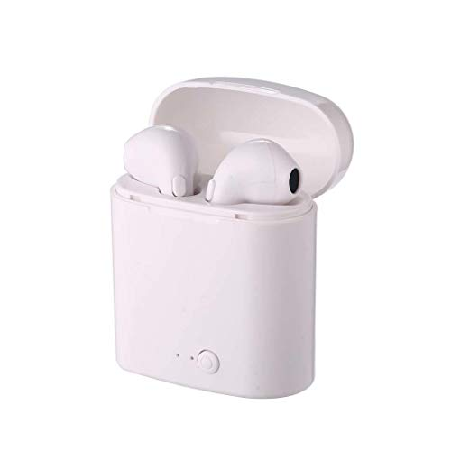 Jingjing1 Bluetooth Earbuds, V4.1 Wireless Headphones with Mic, Stereo Sound, Noise Cancelling in-Ear Earphone (Double with Charging Case, Wihte)