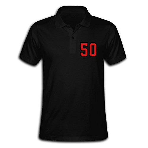 Men's 50 Sports Jersey Football Number Solid Short Sleeve Pique Polo Shirt Black US Size L