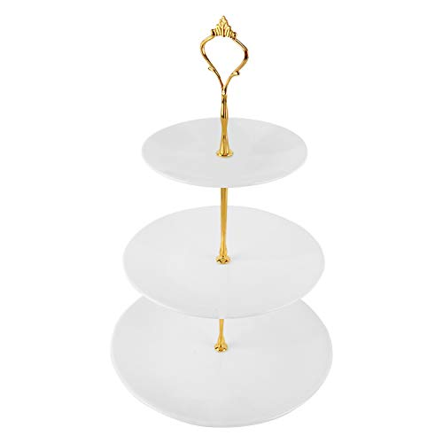 Homend 3 Tier Round Serving Tray Platters, Appetizer or Dessert Cupcakes And Cake Stand Great for Weddings, Tea Party, Holiday Dinners, or Birthday Parties (Round Edge, Gold Handle)