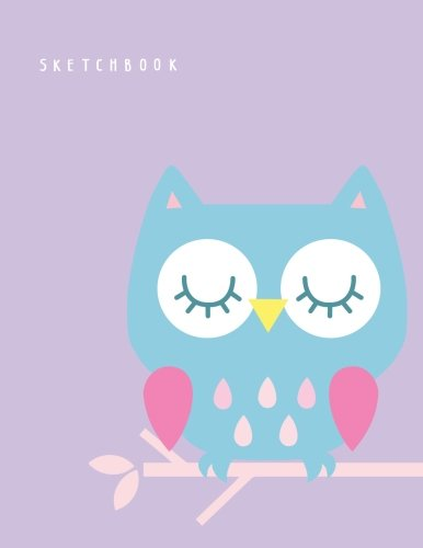 Sketchbook: Cute owl on purple cover (8.5 x 11)  inches 110 pages, Blank Unlined Paper for Sketching, Drawing , Whiting , Journaling & Doodling (Cute owl on purple sketchbook) (Volume 3)