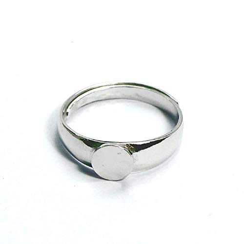 925 Sterling Silver Adjustable 17.5mm Ring Blank with 6mm Pad Sold by ()