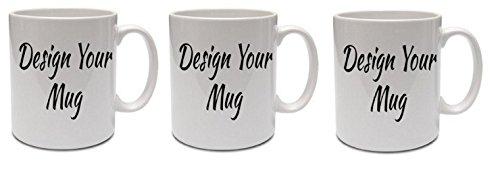 - Set of 3 Coffee Mugs Plain Large White Glossy 16 oz