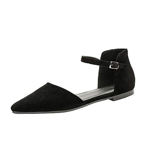 Meeshine Womens D'Orsay Pointy Toe Ankle Strap Buckle Comfort Ballet Flats Shoes (Ankle/Black US 8.5) ()