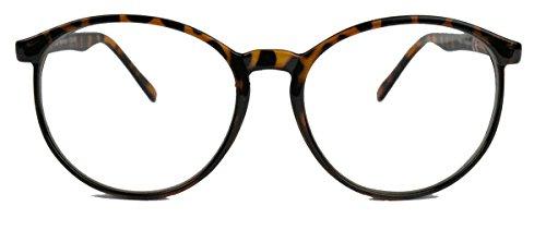 Classic Nerdbrille: große, fast runde Pantobrille filigrane Streberbrille Hornbrille clear lens (Hornbrille / Mod.15)