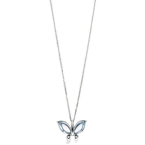 Collier avec pendentif papillon bleu topaze bleu clair 585or blanc 45cm
