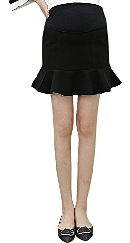 Hibukk Black Dark Gray Bell Shaped Ruffled Pleated Hem Mini Maternity Skirt