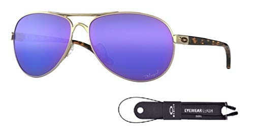 Oakley Feedback OO4079 407918 59M Polished Gold/Violet Iridium Polarized Sunglasses For Men For Women+BUNDLE with Oakley Accessory Leash Kit