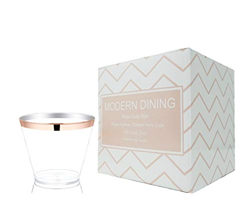 Modern Dining | 100 Pieces 9 oz Rose Gold Rimmed Premium Plastic Cups Clear Fancy Tumblers – Disposable High Quality Elegant Party Wedding Plastic Cups for All Dinner Parties by Modern Dining