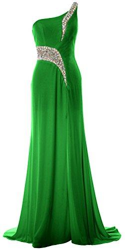 MACloth Women Mermaid Prom Dress One Shoulder Slit Jersey Formal Evening Gown Verde