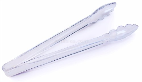 - New Star Foodservice 35520 Utility Tong, High Heat Plastic, Scalloped, 12 inch, Set of 12, Clear