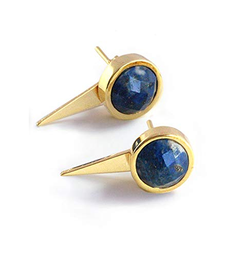 FIRE EAR JACKETS 24K Gold Round Blue Denim Lapis Lazuli Gemstone Stud Earrings | 3-Way Convertible | Hypoallergenic | Geometric Spike Triangle | Birthday Anniversary Valentines Day gifts for her ()