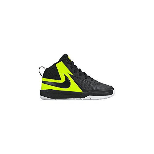 NIKE Boy's Team Hustle D 7 Basketball Shoe (10.5c-3y) Black/Volt/White Size 12 Kids US